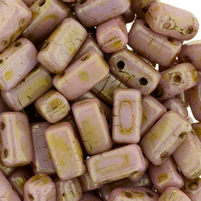 CMBK-310 - CzechMates brick beads - opaque rose/gold topaz lustre