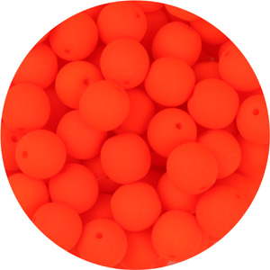 GB3-93 - round pressed glass beads - neon tangerine
