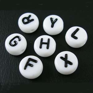 PB604 - acrylic alphabet beads, flat rounds - white mix