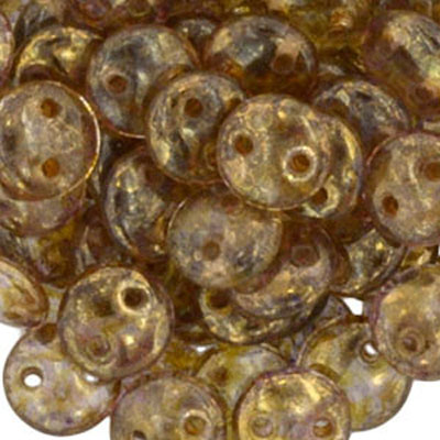 CML-193 - CzechMates lentil beads - pink opal bronze picasso