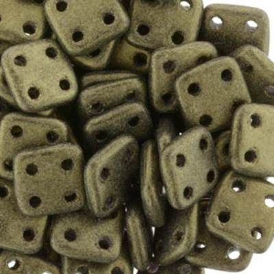 CMQT-277 - CzechMates quadratile beads - metallic suede gold