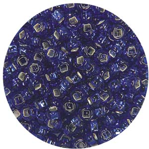 SB10-14 - Czech size 10 seed beads, silver lined - royal blue
