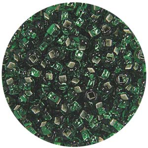 SB10-16 Czech size 10 seed beads, silver lined - emerald green