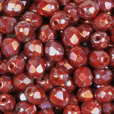 GB8-568 Czech fire-polished beads - Opaque coral red nebula