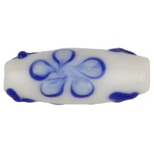 GB280-1 Indian glass lamp bead, oval flower - blue