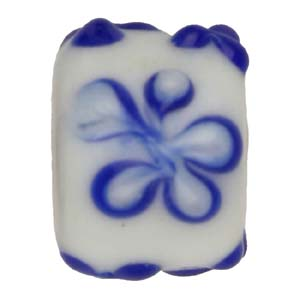 GB281-1 Indian glass lamp bead, barrel flower - blue