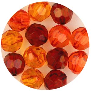 PB31 T Mix faceted round beads - transparent mix