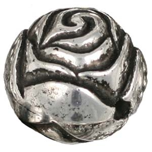 PMB69-2 large rosebud antique silver