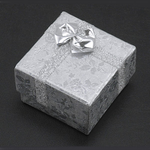 S263 Silver square jewellery box with foam pad