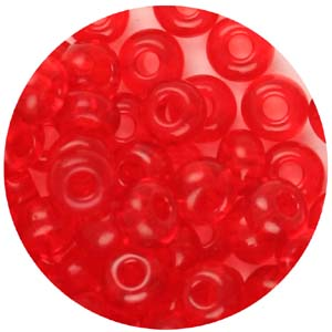 SB6-68 Czech size 6 seed beads, transparent - red