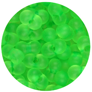 SBF-121 Czech farfalle seed beads, matt transparent - neon green