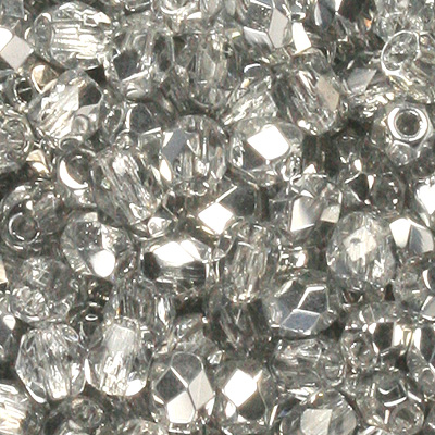 GBFP03-41 - Czech fire-polished beads - Crystal Labrador Half coated