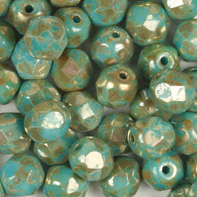 GBFP08-422 - Czech fire-polished beads - opaque turquoise blue picasso