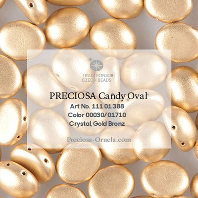 GBCDYOV08-111 - Czech Candy Oval Beads - gold matt metallic