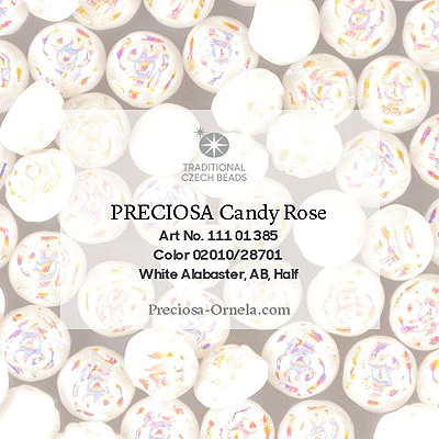 GBCDYR12-309 - Czech Candy Rose Beads - alabaster AB