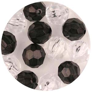 PB4 T Mix - faceted round beads - transparent mix