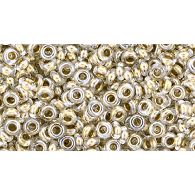 SB8JTD-989 - Toho size 8 demi-round seed beads - gold-lined crystal