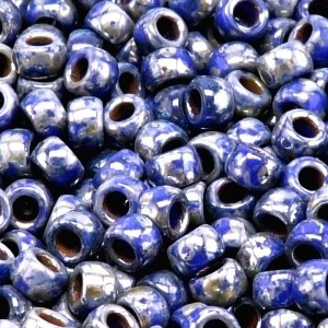 SBP6-420 - Matubo Czech size 6 seed beads - opaque blue picasso