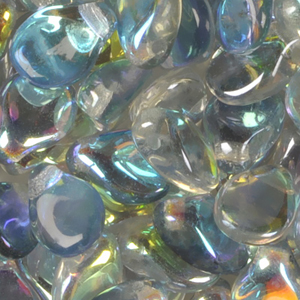 GBPIP-204 - Czech pips pressed beads - crystal blue iris