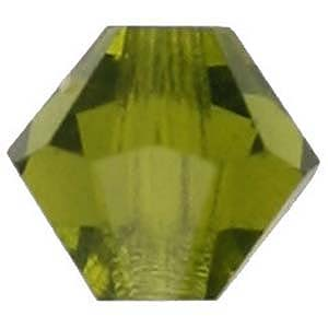 CCBIC03 28 - Czech crystal bicones - olivine