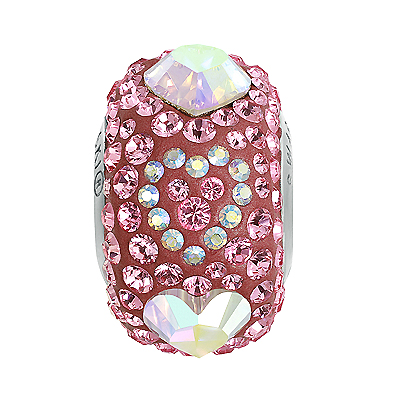 84372 421 001 AB 223 - BeCharmed Pave Endless Love Bead - crystal AB/lt rose/pearl raspberry