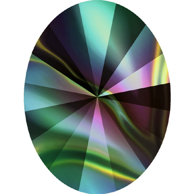 4122 8x6mm 001 RABDK - Swarovski oval rivoli fancy stone - crystal rainbow dark