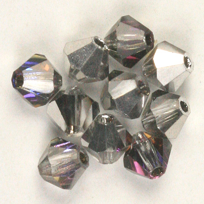 CCBIC04 63 - Czech crystal bicones - Crystal Heliotrope Half Coated