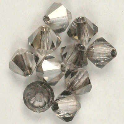 CCBIC04 95 - Czech crystal bicones - Crystal Silver Shade Half Coated