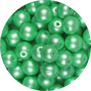 GB5-341 - round pressed glass beads - pastel light green
