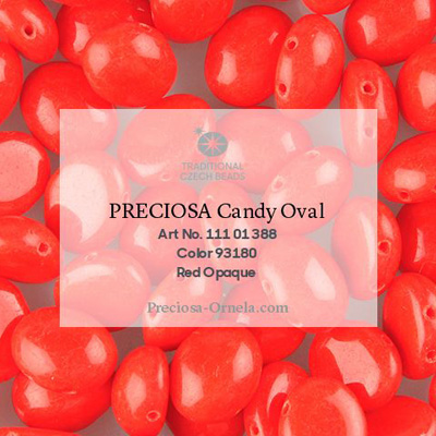 GBCDYOV12-143 - Czech Candy Oval Beads - opaque red