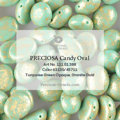 GBCDYOV12-753 - Czech Candy Oval Beads - Op turquoise green granite gold