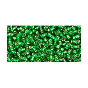 SB8JT-27B - Toho size 8 seed beads - silver lined grass green