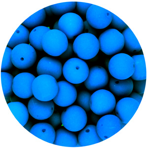 GBSR06-99 - round pressed glass beads - neon blue