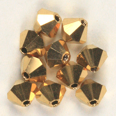 CCBIC04 75 2X - Czech crystal bicones - Crystal Gold Aurum Full Coated