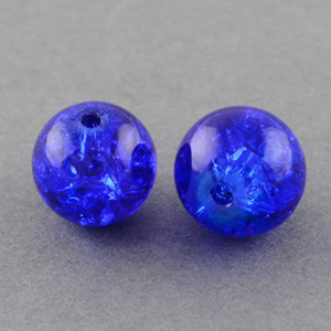 GBCR10-14 - glass crackle beads - royal blue