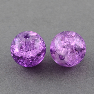 GBCR10-6 - glass crackle beads - purple