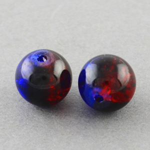 GCB12-T5 - glass crackle beads - royal blue/red