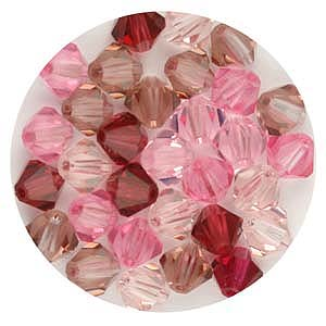 CCBIC04 M1 - Czech crystal bicones - mixed pinks