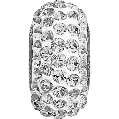 81101 01 001 - BeCharmed Pave Bead Slim Crystal White