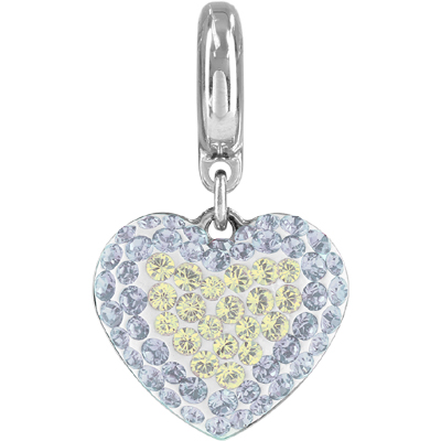 86502 01 234 001MOL H - BeCharmed Pavé Heart Charm - Crystal Moonlight/White Opal/White