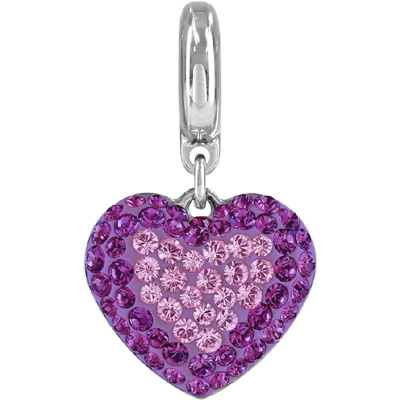86502 204 212 H - BeCharmed Pave Heart Charm - Light Amethyst/Amethyst/ Mauve