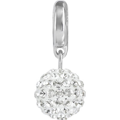 87003 01 001 H - BeCharmed Pave Ball Charm Crystal/White