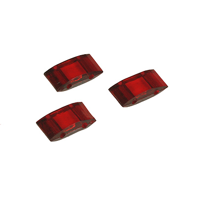 ACAR 12T - 2-hole acrylic carrier beads - red transparent