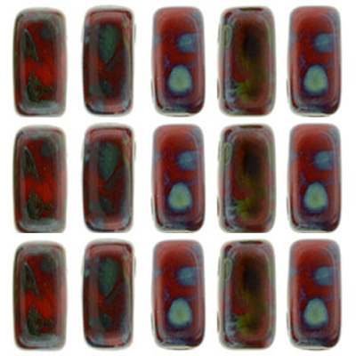 CMBK-424 - CzechMates brick beads - opaque red picasso
