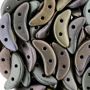 CMC-230 - CzechMates crescent beads - matt metallic leather (grey rainbow)