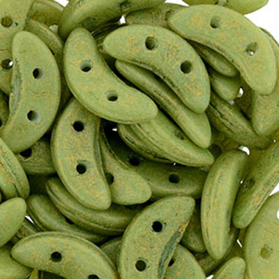 CMC-595 - CzechMates crescent beads - pacifica avocado
