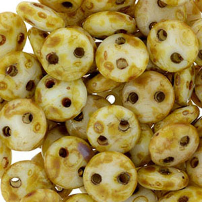 CML-308 - CzechMates lentil beads - alabaster picasso