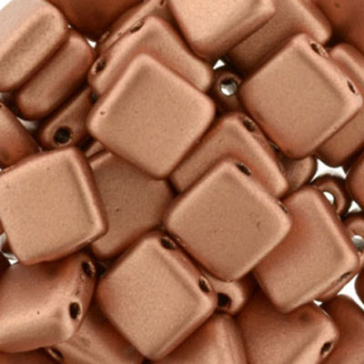 CMTL-112 - CzechMates tile beads - crystal copper matt metallic