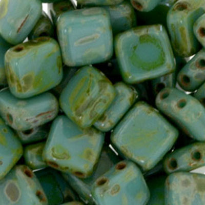 CMTL-190 - CzechMates tile beads - Persian turquoise picasso