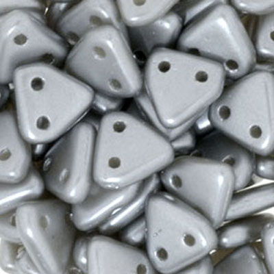 CMTR-343 - CzechMates triangle beads - pastel light grey/silver